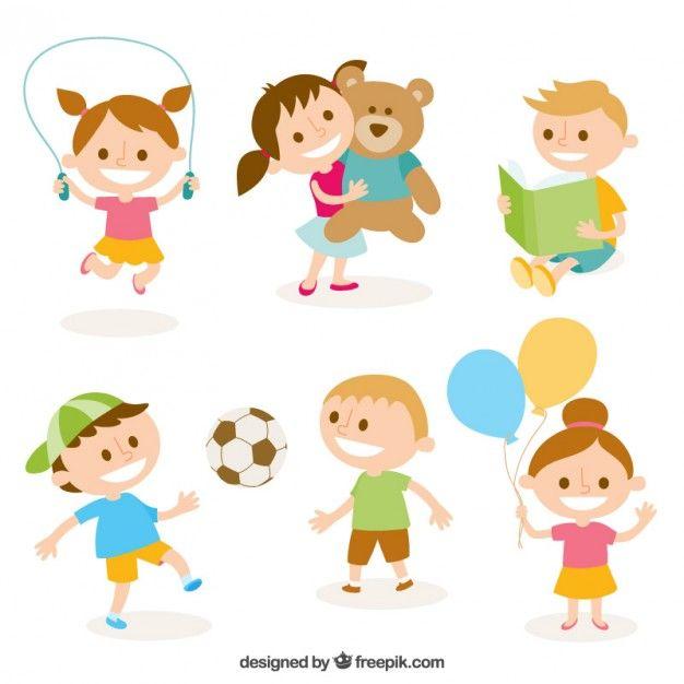 Clipart gratis ninos free stock Ilustración linda de niños jugando Vector Gratis | Drawings | Kids ... free stock