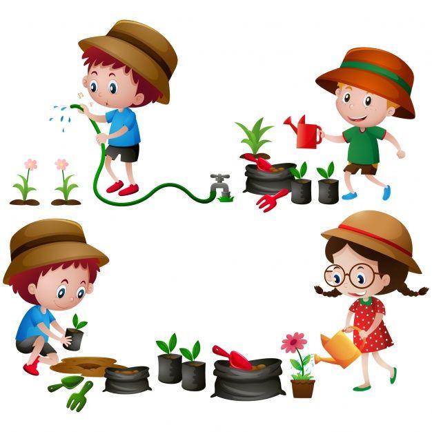 Clipart gratis ninos svg freeuse download Diseño de niños en el jardín Vector Gratis | SCRAPBOOKING STIKERS Y ... svg freeuse download