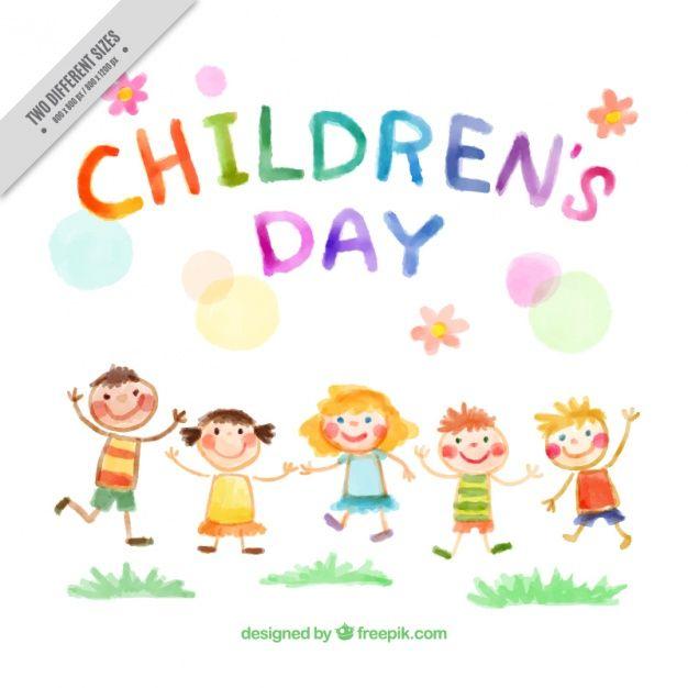 Clipart gratis ninos clipart royalty free Fondo de niños saltando pintados a mano Vector Gratis | Egresaditos ... clipart royalty free