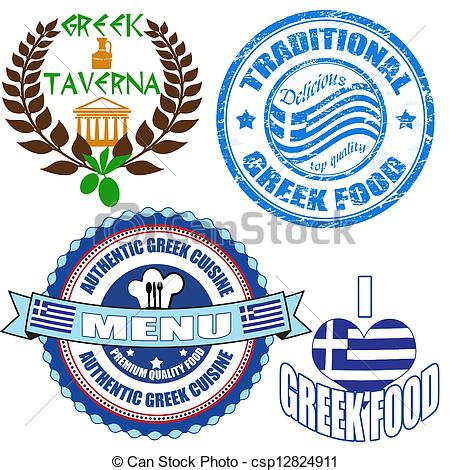 Clipart greek food banner royalty free library Vector Clip Art of Set of authentic greek food stamp and labels on ... banner royalty free library
