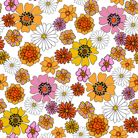 Clipart green and white and orange daisy border 70s picture royalty free library seventies floral fabric, 70s floral fabric, 70s daisies, pink ... picture royalty free library