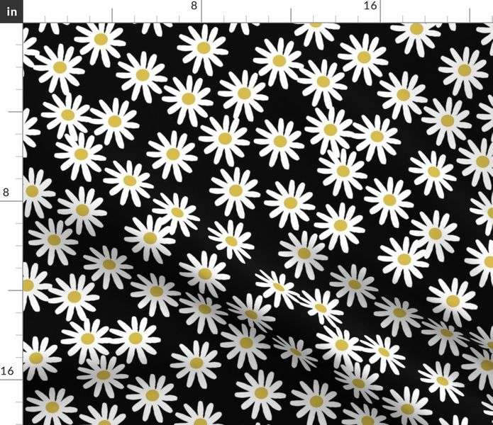Clipart green and white and orange daisy border 70s picture royalty free library Fabric by the Yard daisy // daisies flowers florals flower black and white  simple 90s design picture royalty free library