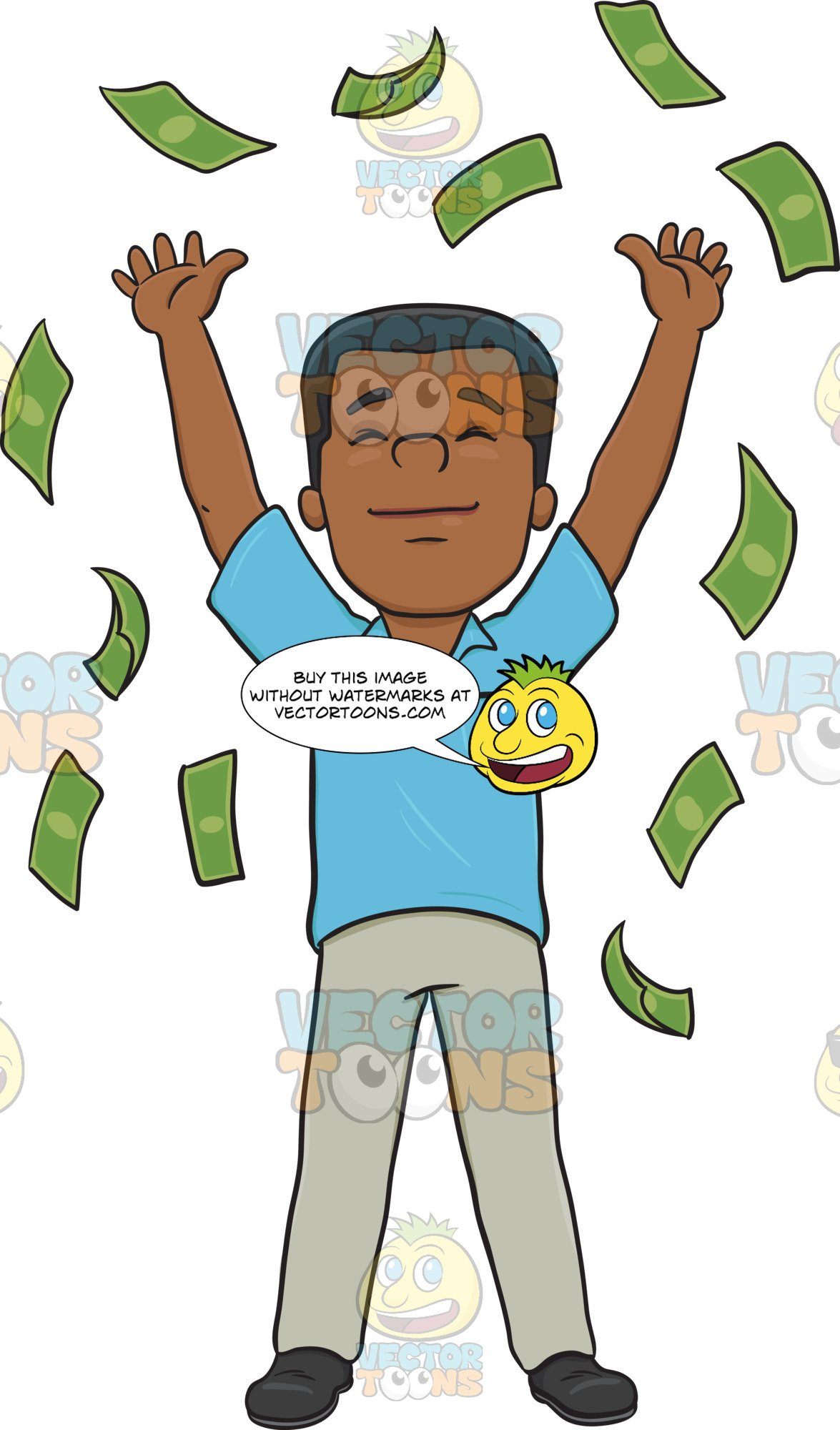 Clipart green man arms in air banner black and white download Satisfied Man Enjoying The Money Rain banner black and white download
