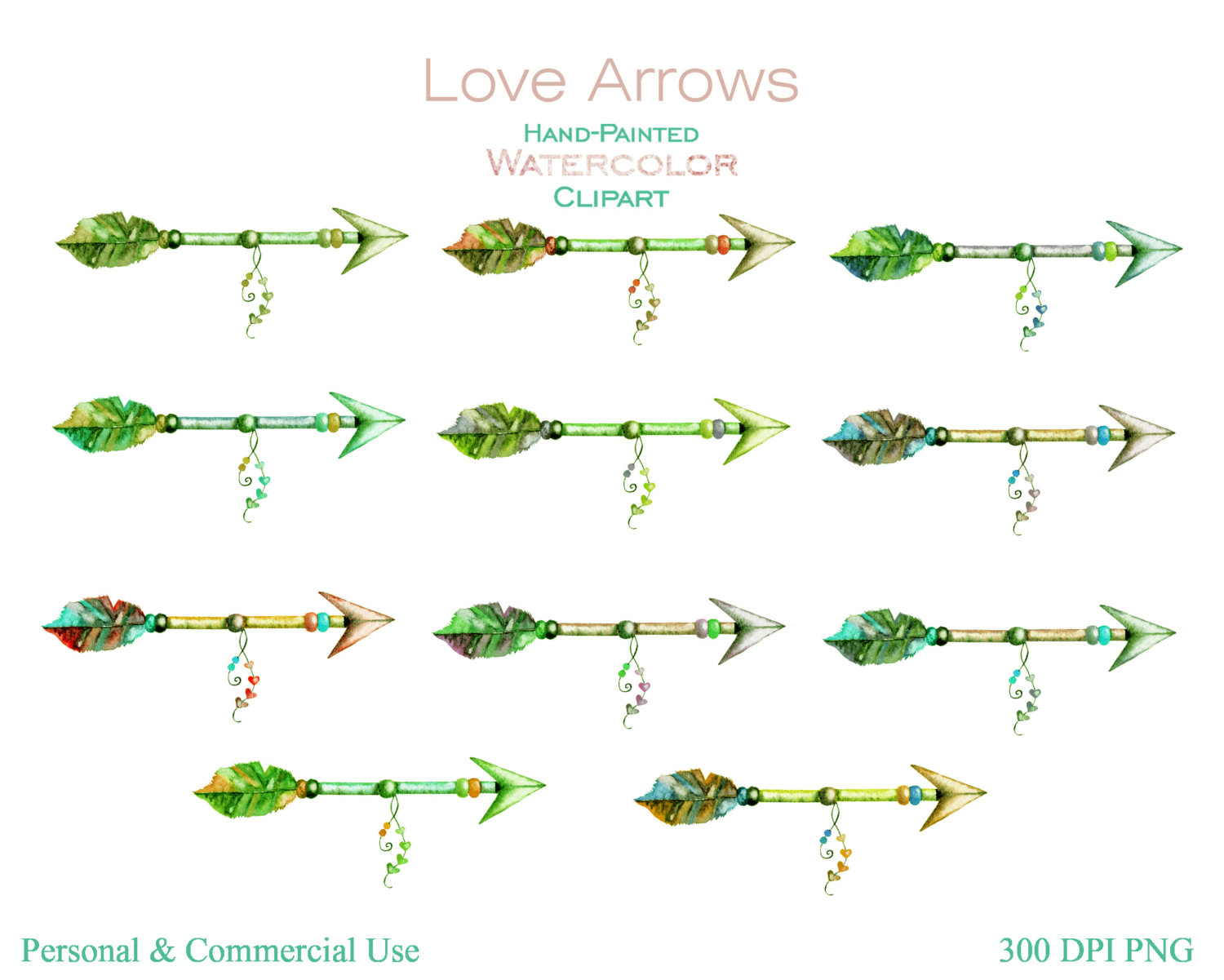 Watercolor arrows commercial use. Clipart green tribal arrow right