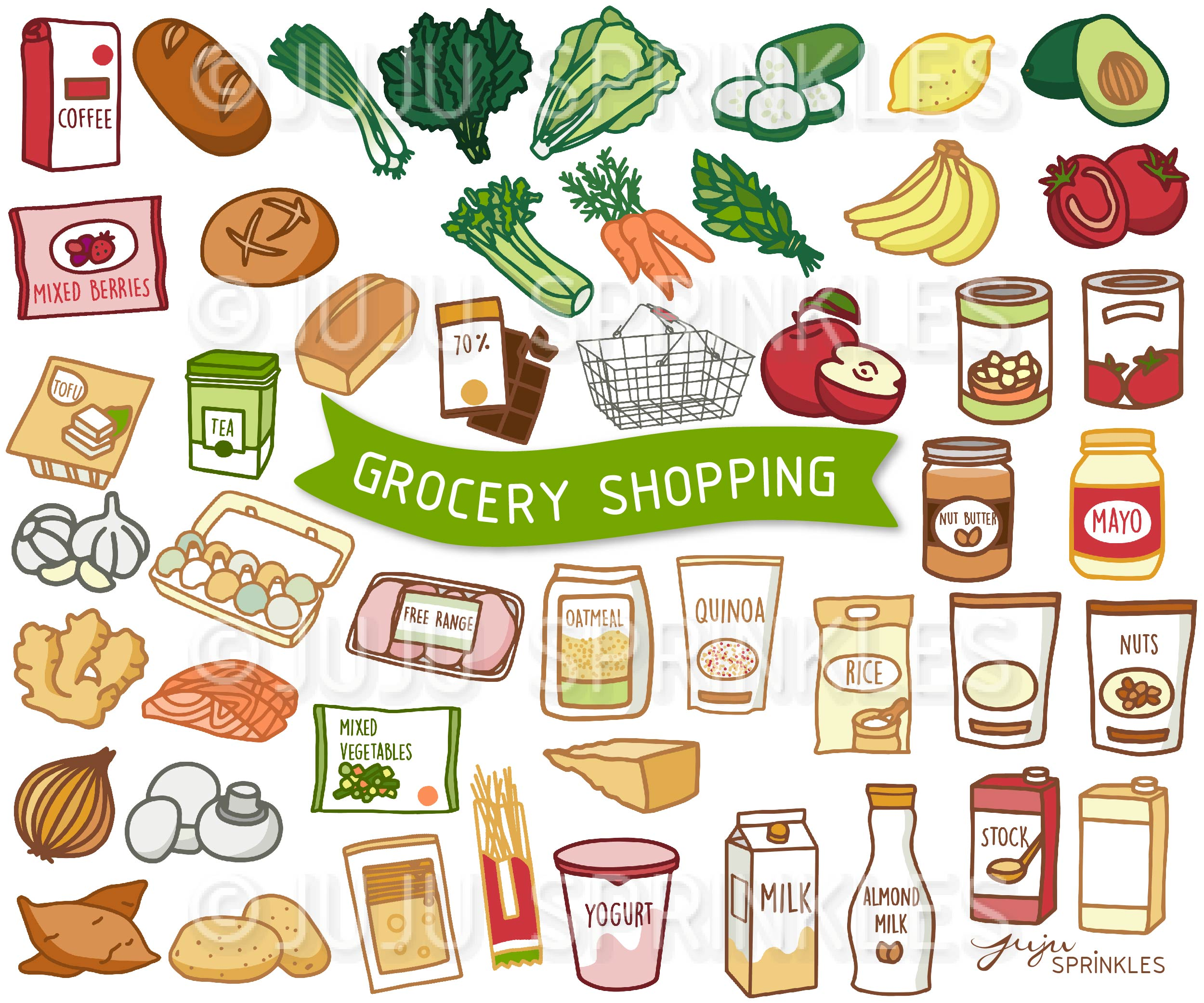 Clipart grocery picture free library Grocery Shopping Clipart and Sticker Set picture free library