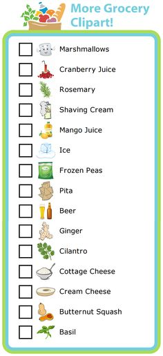 Clipart grocery list jpg Make Your Own Grocery List PLUS lots of other printable activities ... jpg