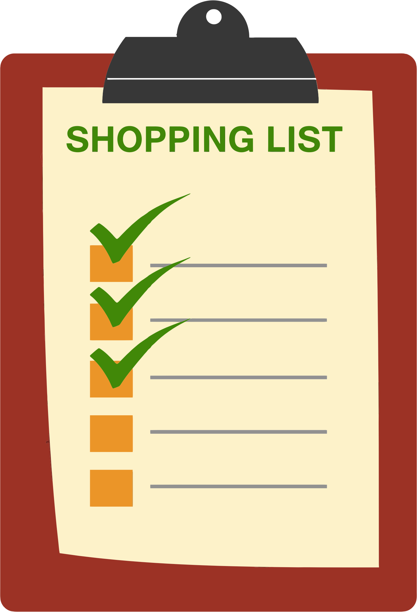 Clipart grocery list