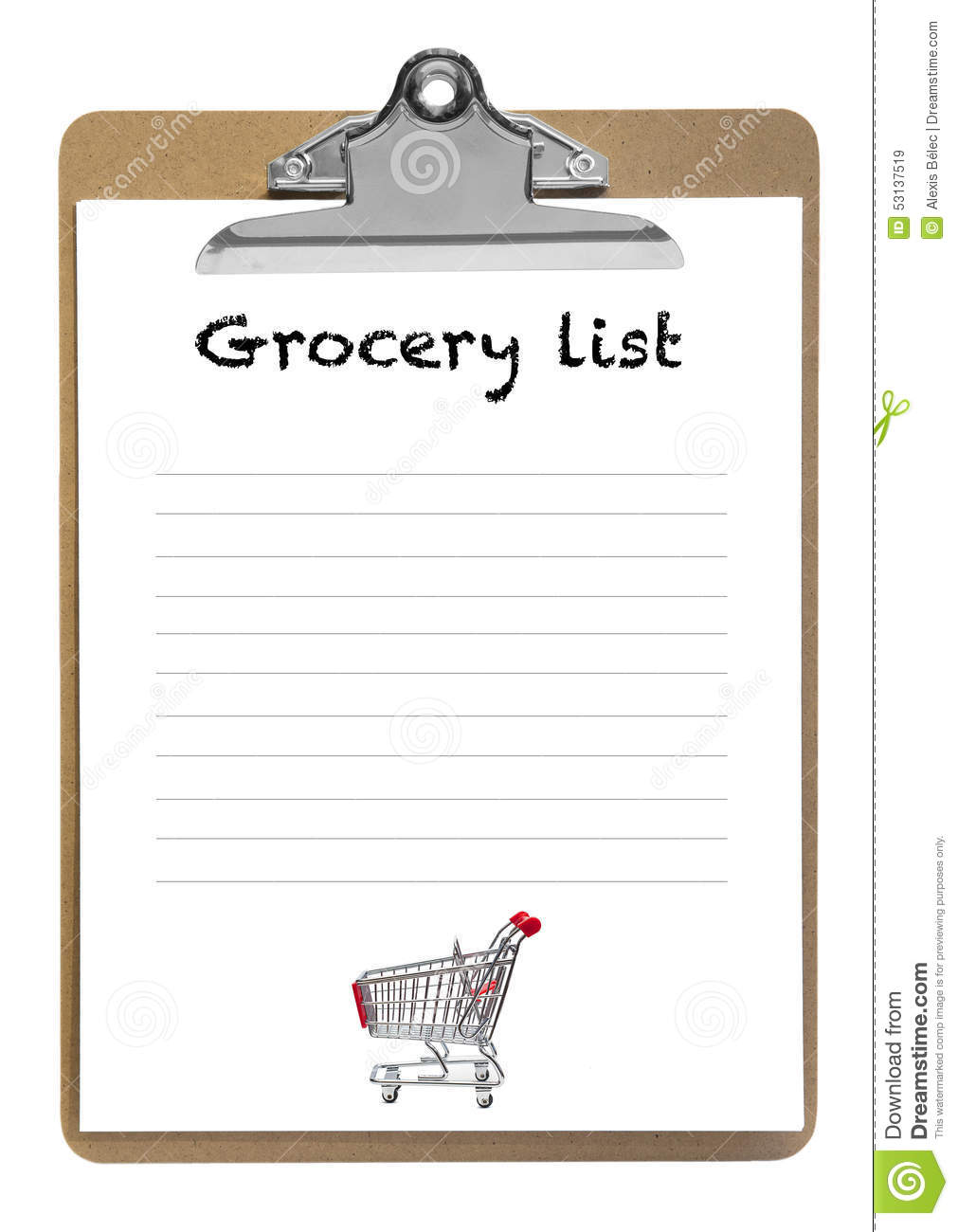 Clipart grocery list clip transparent library Grocery List Stock Photo - Image: 53137519 clip transparent library