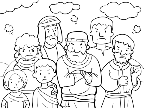 Clipart grumbled vector free download Israelites Grumbled Against Moses coloring page | Free Printable ... vector free download
