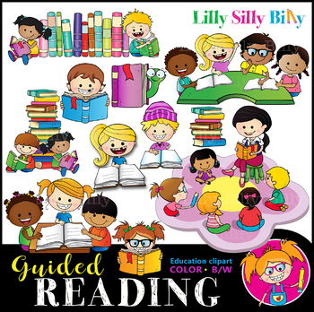 Clipart guided reading clipart black and white download GUIDED READING Clipart set. BLACK AND WHITE & Color Bundle. {Lilly Silly  Billy} clipart black and white download