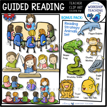 Clipart guided reading clip free stock Guided Reading Kids Clip Art Bundle clip free stock