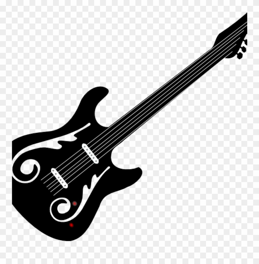Clipart guitar black and white vector library Guitar Clipart Black And White Guitar Clip Art Black - Kaisi Yeh ... vector library