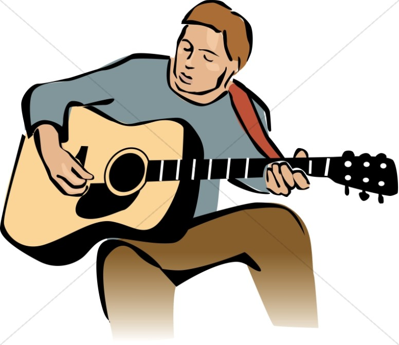 Guitar playing clipart svg black and white library Guitar Player Leading Worship | Worship Clipart svg black and white library