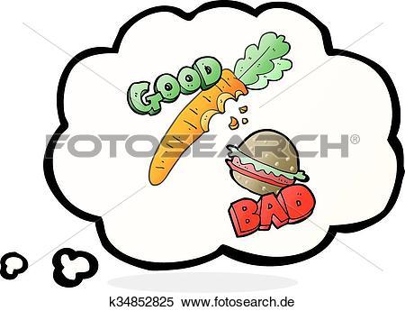 Gedankenblase karikatur essen k. Clipart gut schlecht