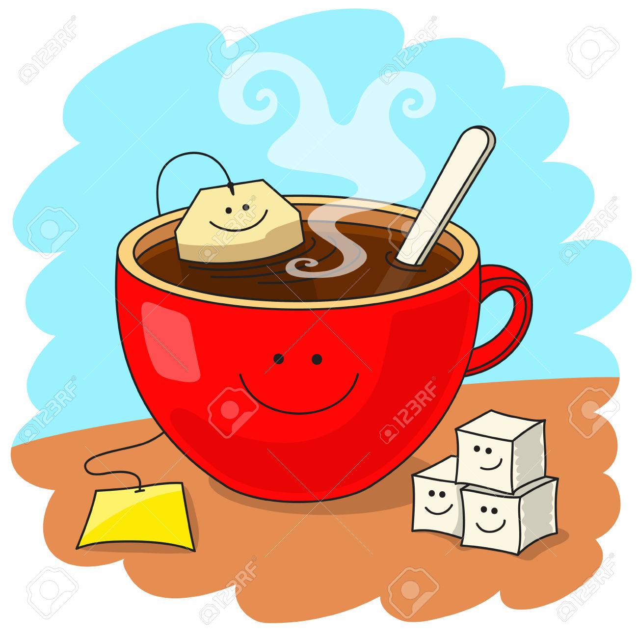 Clipart gute laune picture transparent Red Tasse Tee Mit Teebeutel Im Inneren. Lustige Lächelnde ... picture transparent