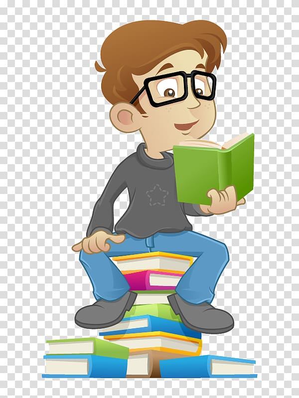 Clipart guy reading on a pile of books clipart freeuse Boy reading book , Reading Book Child, kid reading transparent ... clipart freeuse