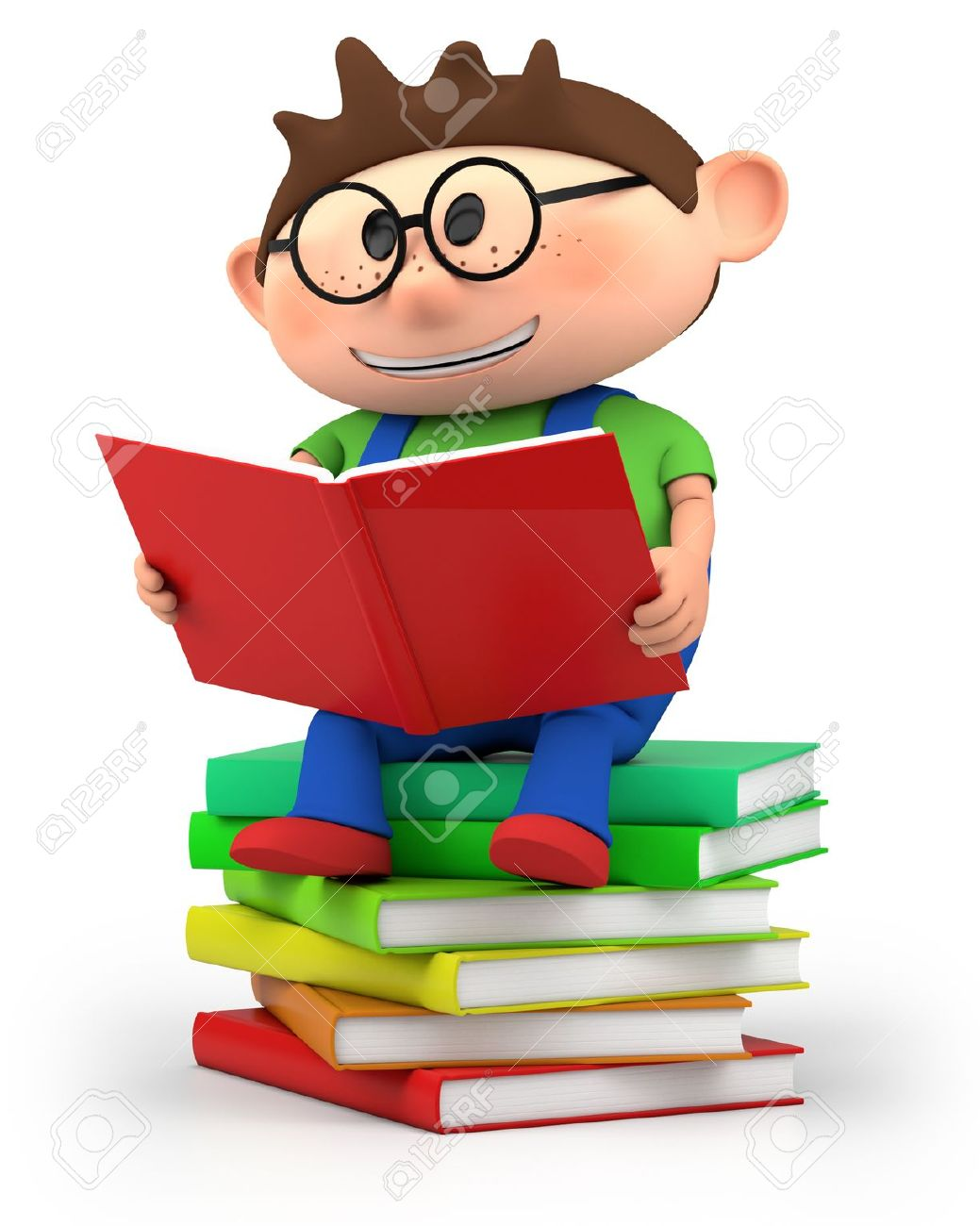 Clipart guy reading on a pile of books clip royalty free library Cartoon Boy Reading Book Group with 38+ items clip royalty free library