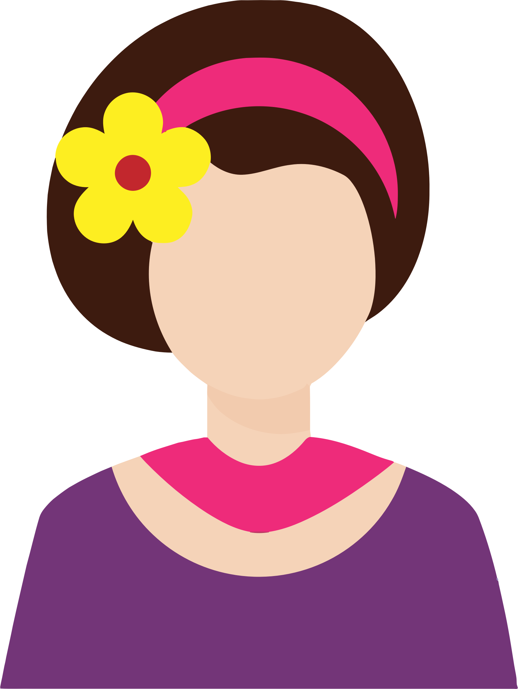 Clipart hair flower clip transparent download Clipart - Female Avatar With Flower In Hair clip transparent download