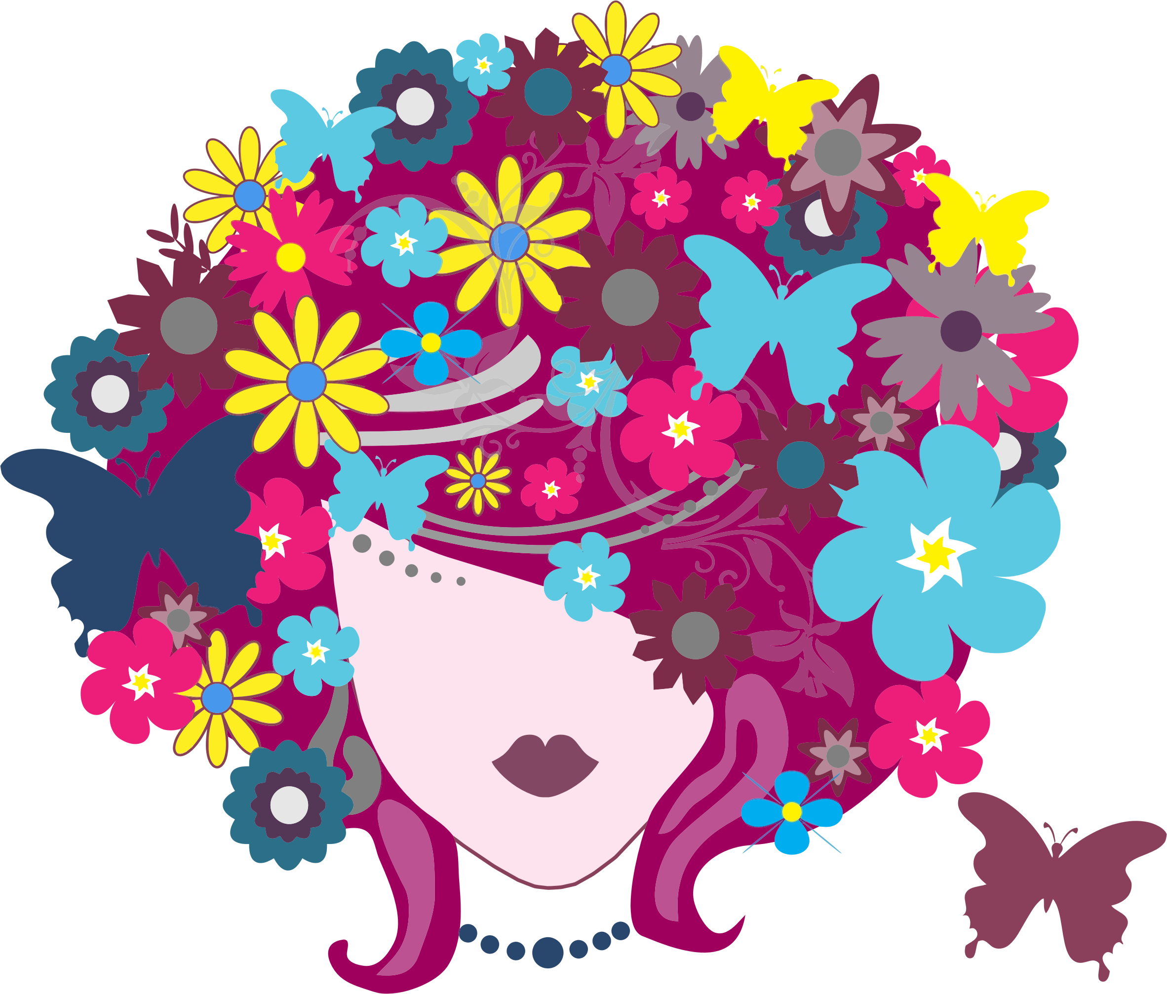 Clipart hair flower image royalty free library Clipart - Floral Butterfly Hair Woman image royalty free library