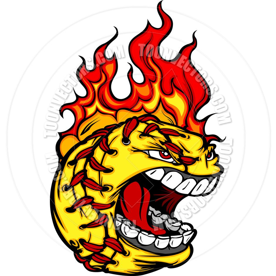 Clipart hair on fire black and white download Softball On Fire Clip Art | Fast Pitch Softball Face with Flaming ... black and white download