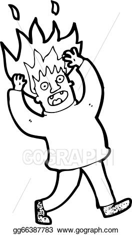 Hair on fire clipart image free library Vector Illustration - Cartoon man with hair on fire. EPS Clipart ... image free library