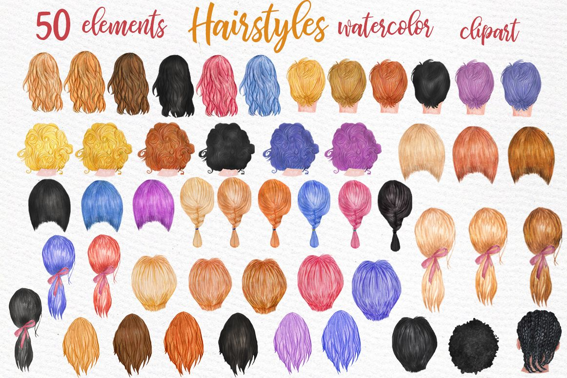 Clipart hair style image royalty free Hairstyles clipart Custom hairstyle Watercolor hair styles image royalty free