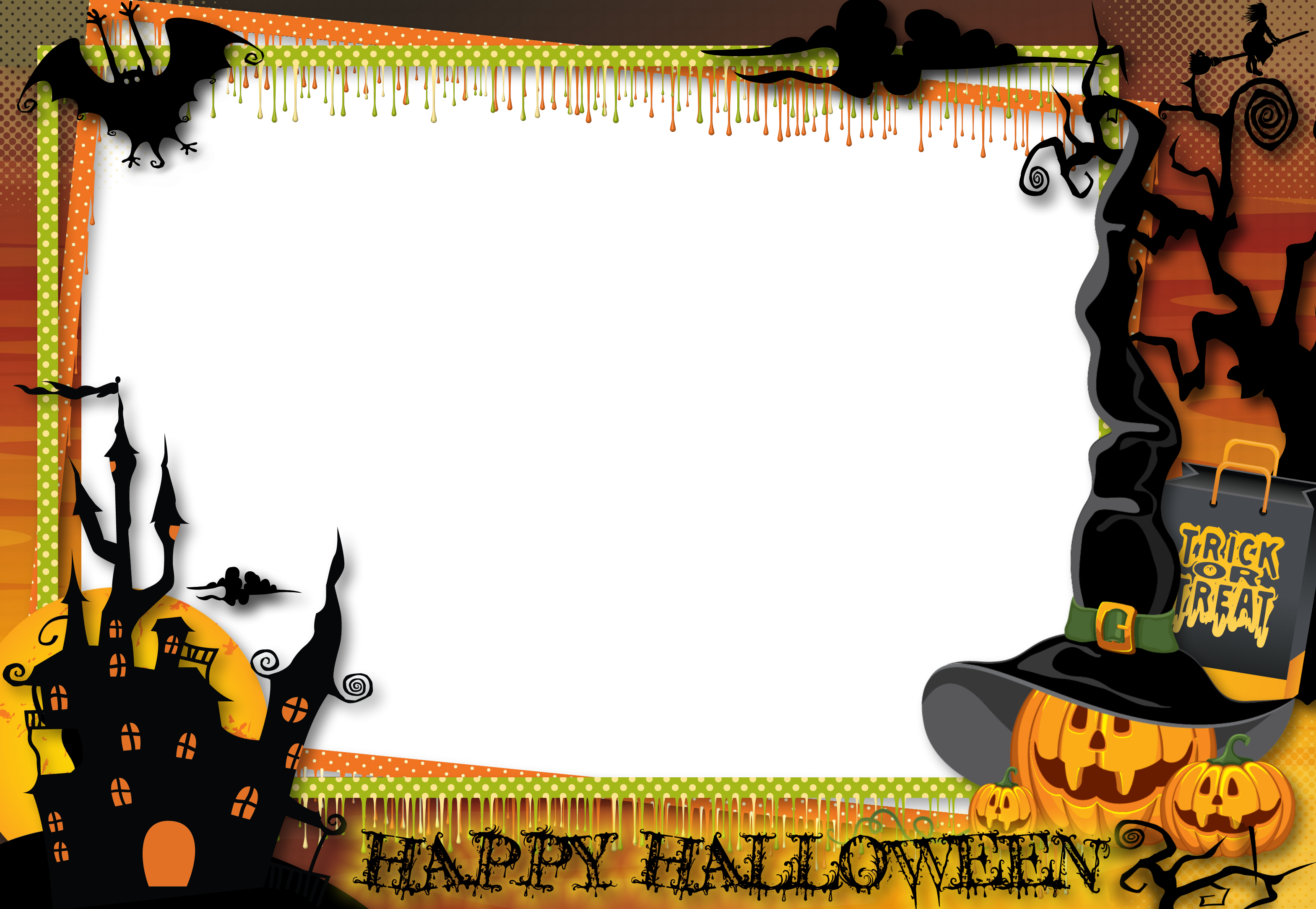 Halloween clipart borders free clipart library download Halloween Transparent Large PNG Photo Frame | Gallery Yopriceville ... clipart library download