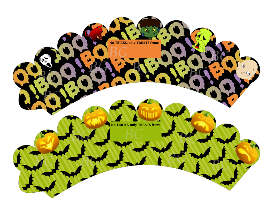 Clipart halloween cupcake picture library stock Halloween Cupcake Wrappers WATERMARKED   BOOK GRAPHICS picture library stock