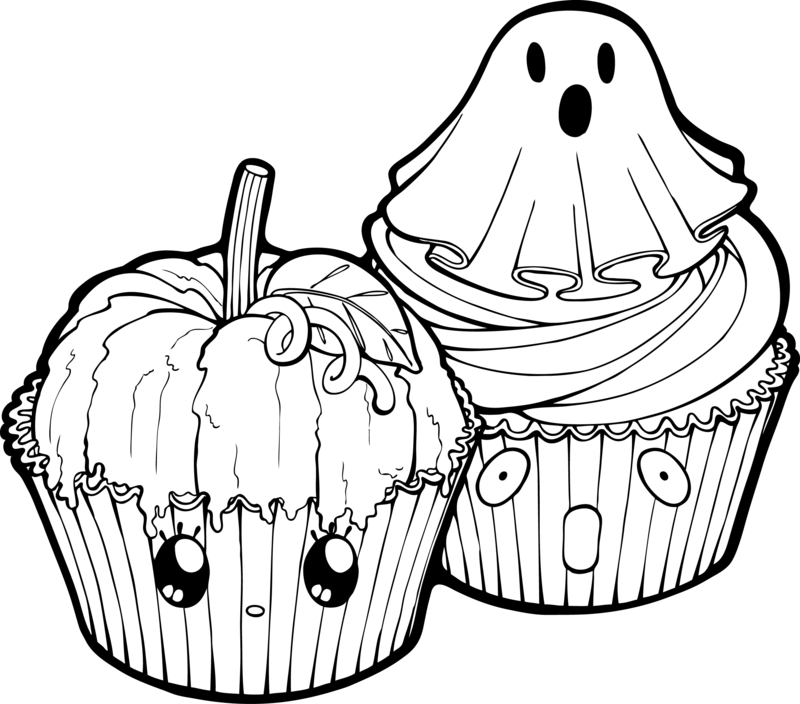 Halloween black and white pumpkin clipart picture transparent library Desserties | Halloween Cupcakes Lineart by Chibivi-Linearts on ... picture transparent library