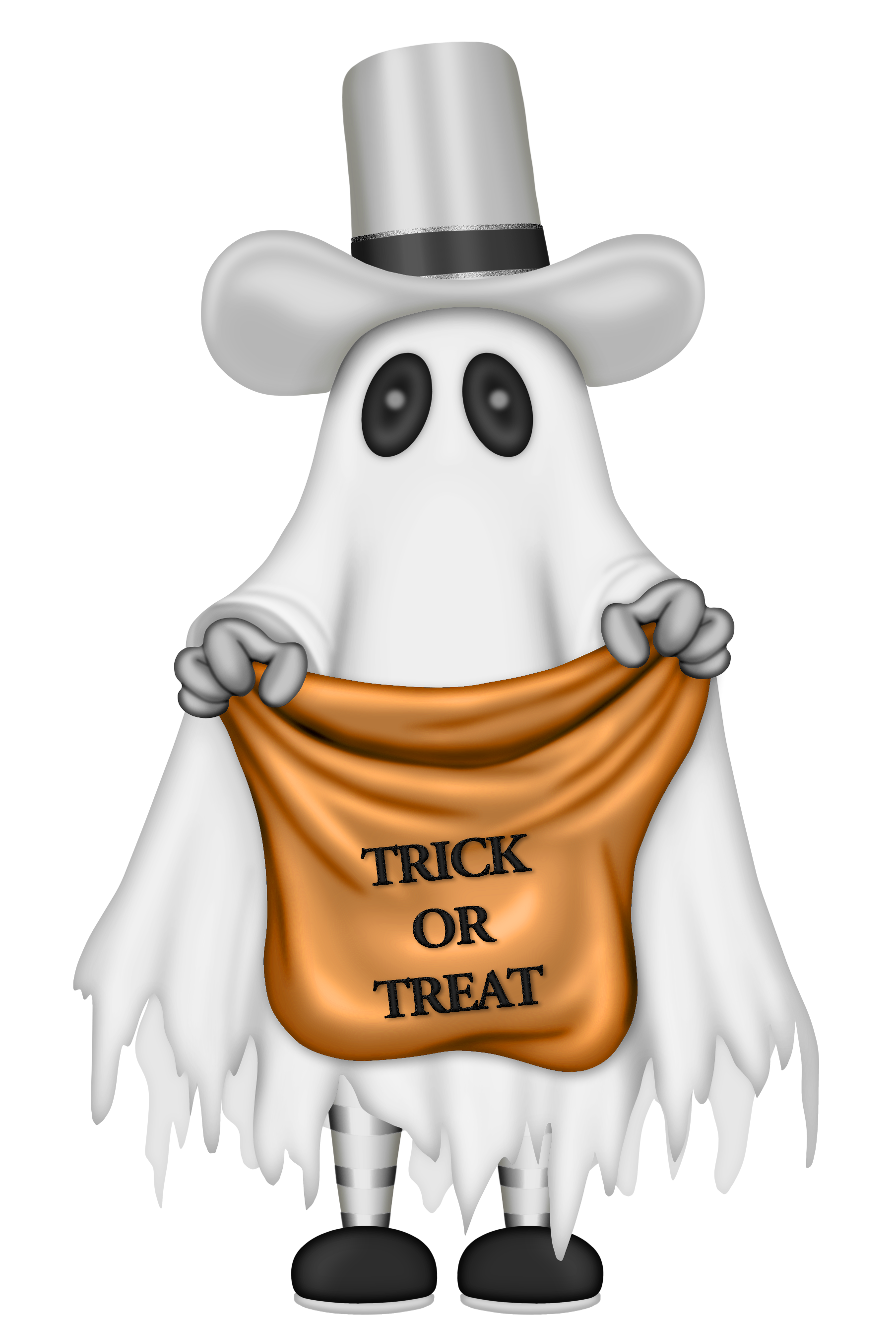 Happy halloween ghost clipart png transparent Halloween Ghost with Trick or Treat Bag | Gallery Yopriceville ... png transparent