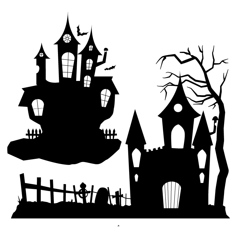 Clipart haunted house black and white clipart transparent library Halloween Ghost Party Clip art - Halloween Haunted House Silhouette ... clipart transparent library