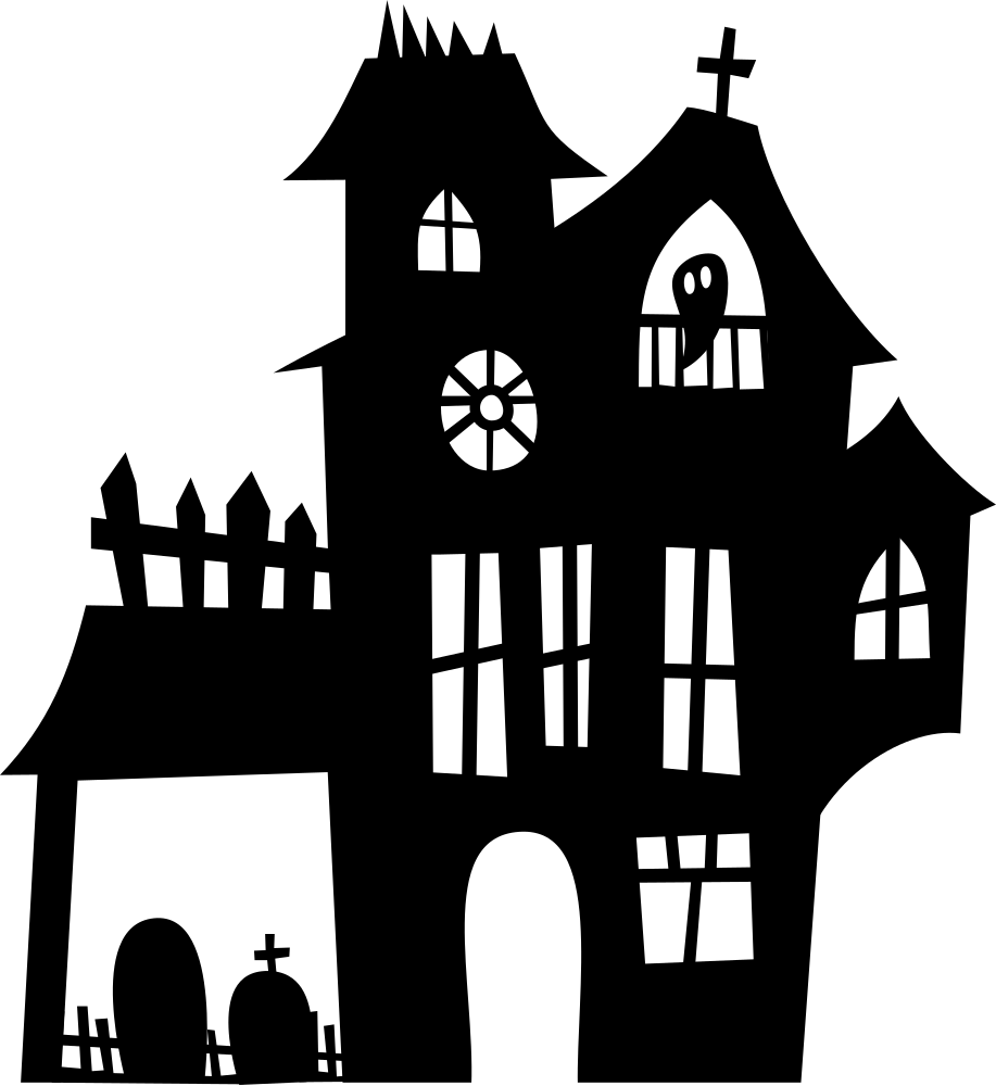 Clipart haunted house black and white black and white stock OnlineLabels Clip Art - Haunted Mansion Silhouette black and white stock