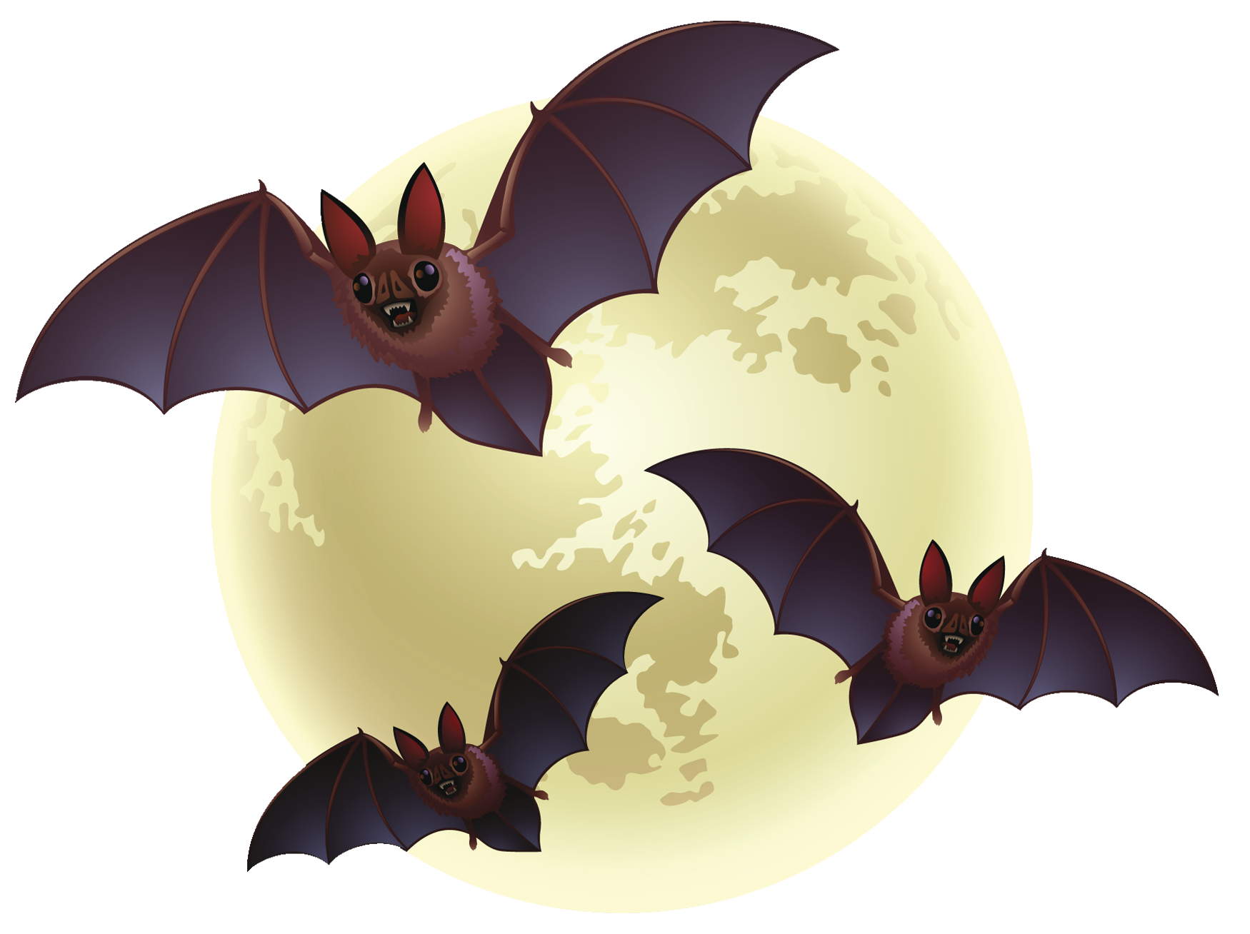 Halloween flying bats clipart freeuse stock Creepy Halloween Moon with Bats PNG Clipart | Gallery Yopriceville ... freeuse stock
