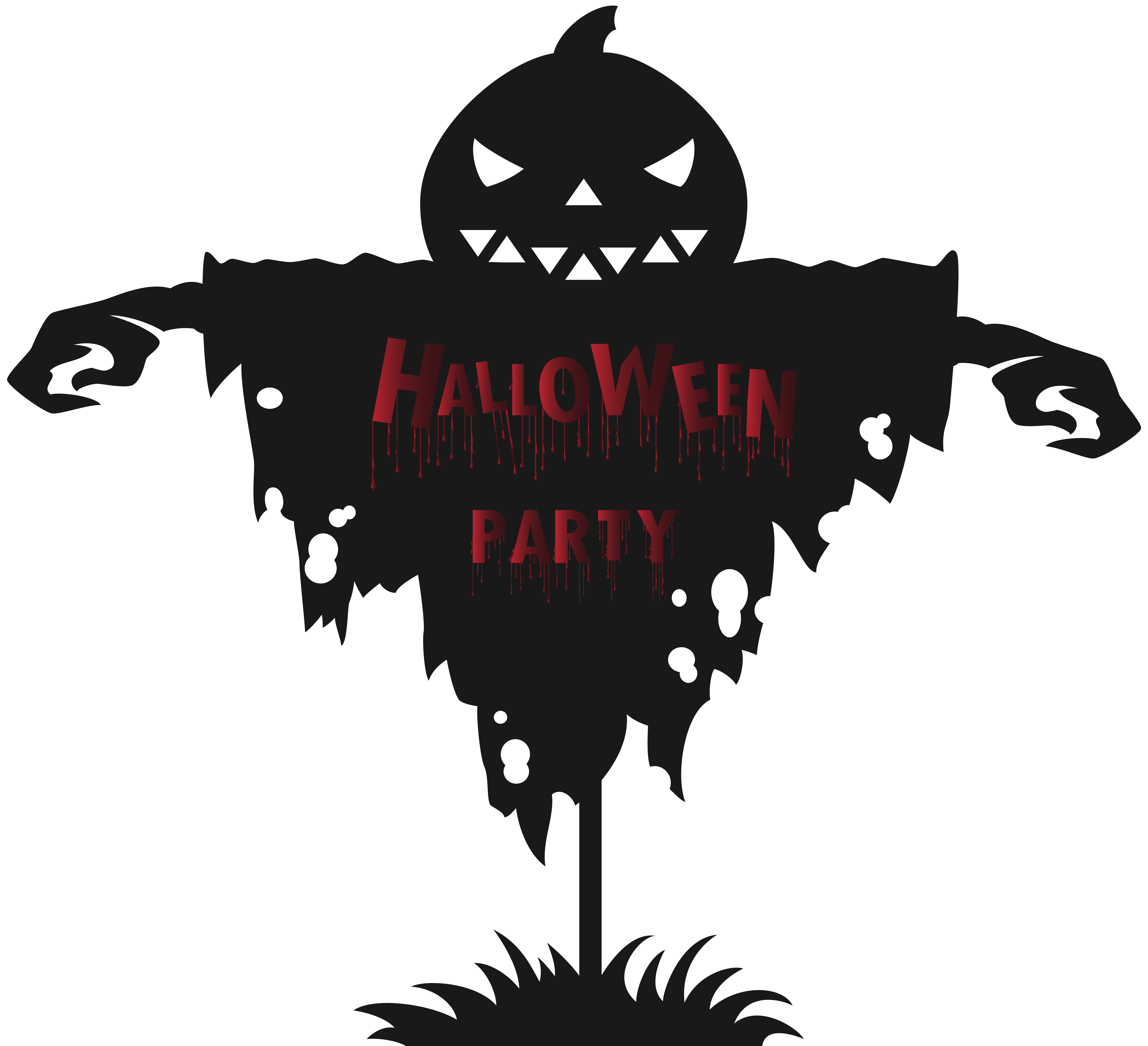 Clipart halloween party freeuse Halloween Party Scarecrow PNG Clip Art Image | Gallery Yopriceville ... freeuse