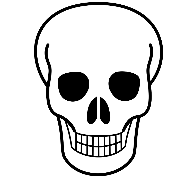 Cute halloween skeleton clipart. Skull line art free