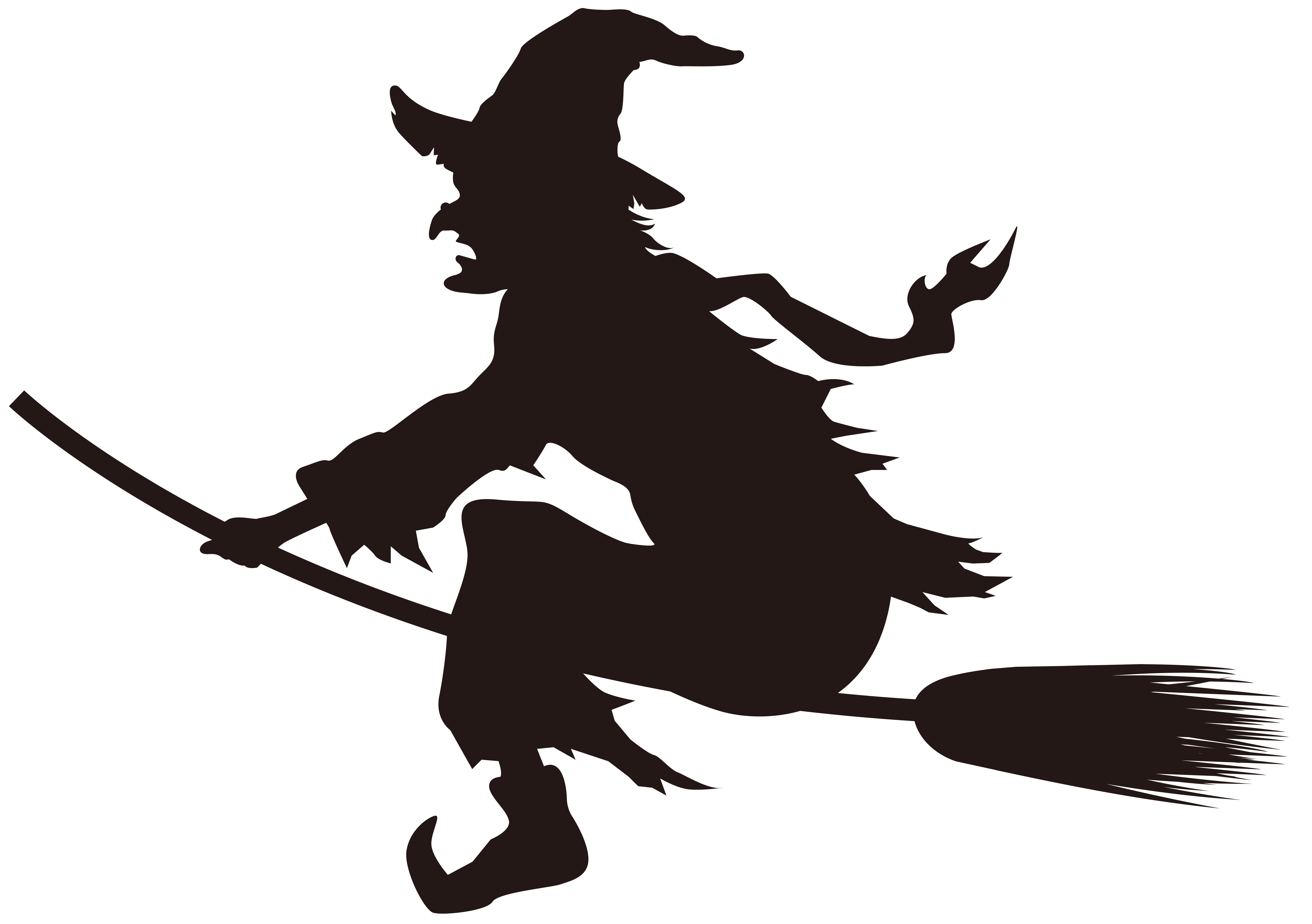 Halloween witch clipart black and white png freeuse stock Halloween Witch on Broom Silhouette PNG Clip Art Image | Gallery ... png freeuse stock