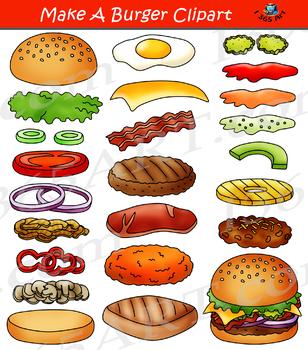 Clipart hamburguer graphic freeuse Build a Burger Make Hamburger Clipart Bundle graphic freeuse