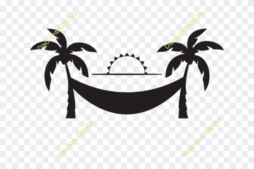 Hammock and trees clipart image black and white library Hammock Clipart Medieval - Palm Tree Silhouette Clip Art, HD Png ... image black and white library
