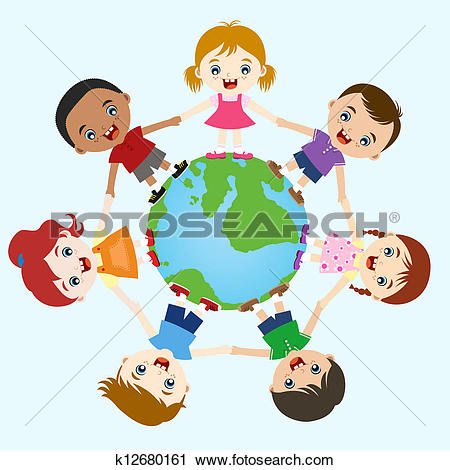 Of multicultural children k. Clipart hand in hand