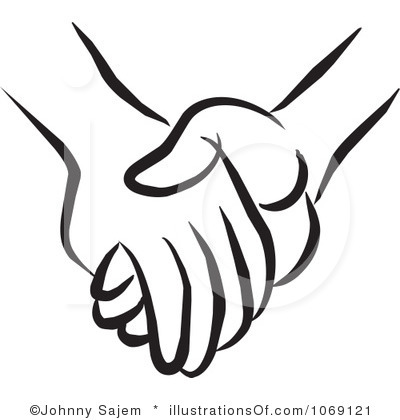 Kid clip art outline. Clipart hand in hand