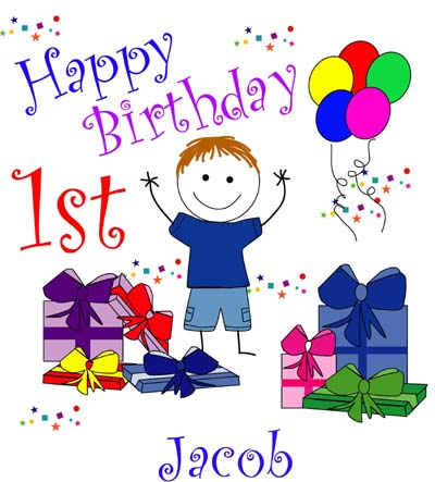 Clipart happy 1st birthday boy image black and white library 1st Birthday Boy Clipart - Clipart Kid image black and white library