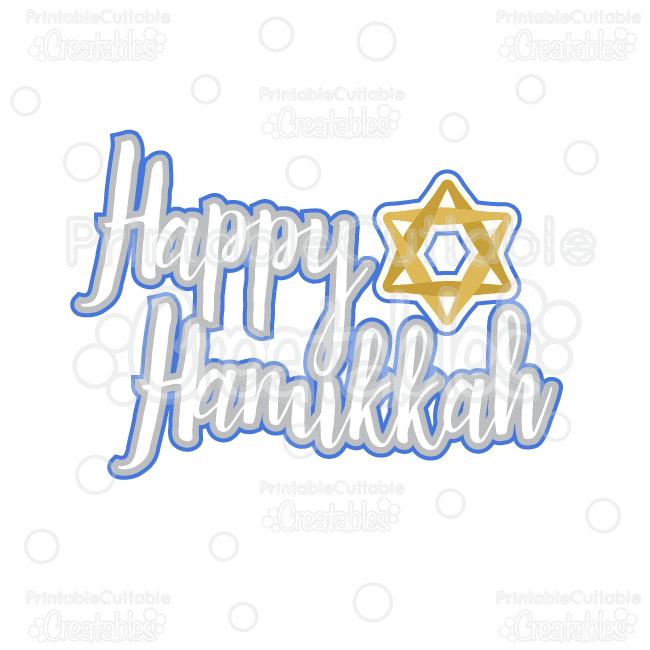 Clipart happy hanukkah graphic royalty free stock Happy Hanukkah Title SVG Cutting File & Clipart graphic royalty free stock