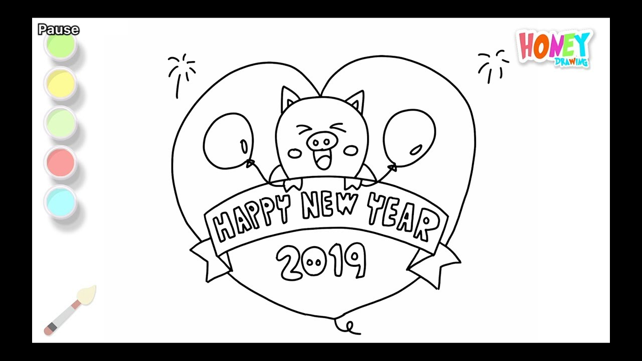 Clipart happy new year 2019 for kids picture freeuse download Drawing for Kids \'Happy New Year 2019\' Coloring Pages | How to draw \'Happy  New Year\' for children\'s picture freeuse download