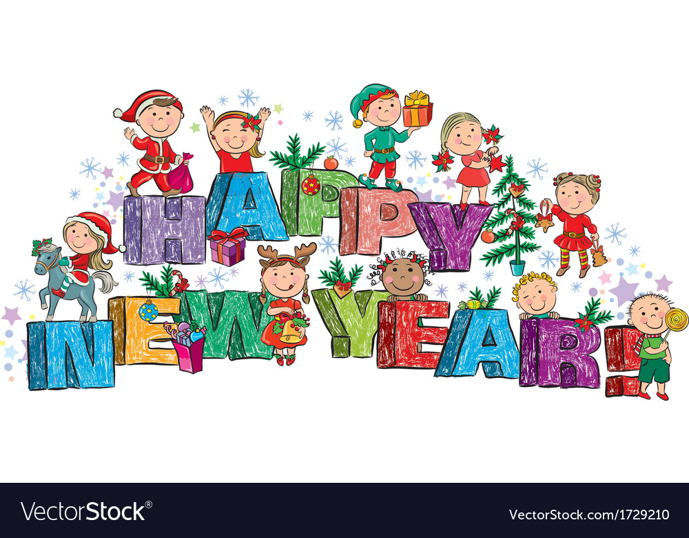 Clipart happy new year 2019 for kids image free Happy New Year kids on the letters image free