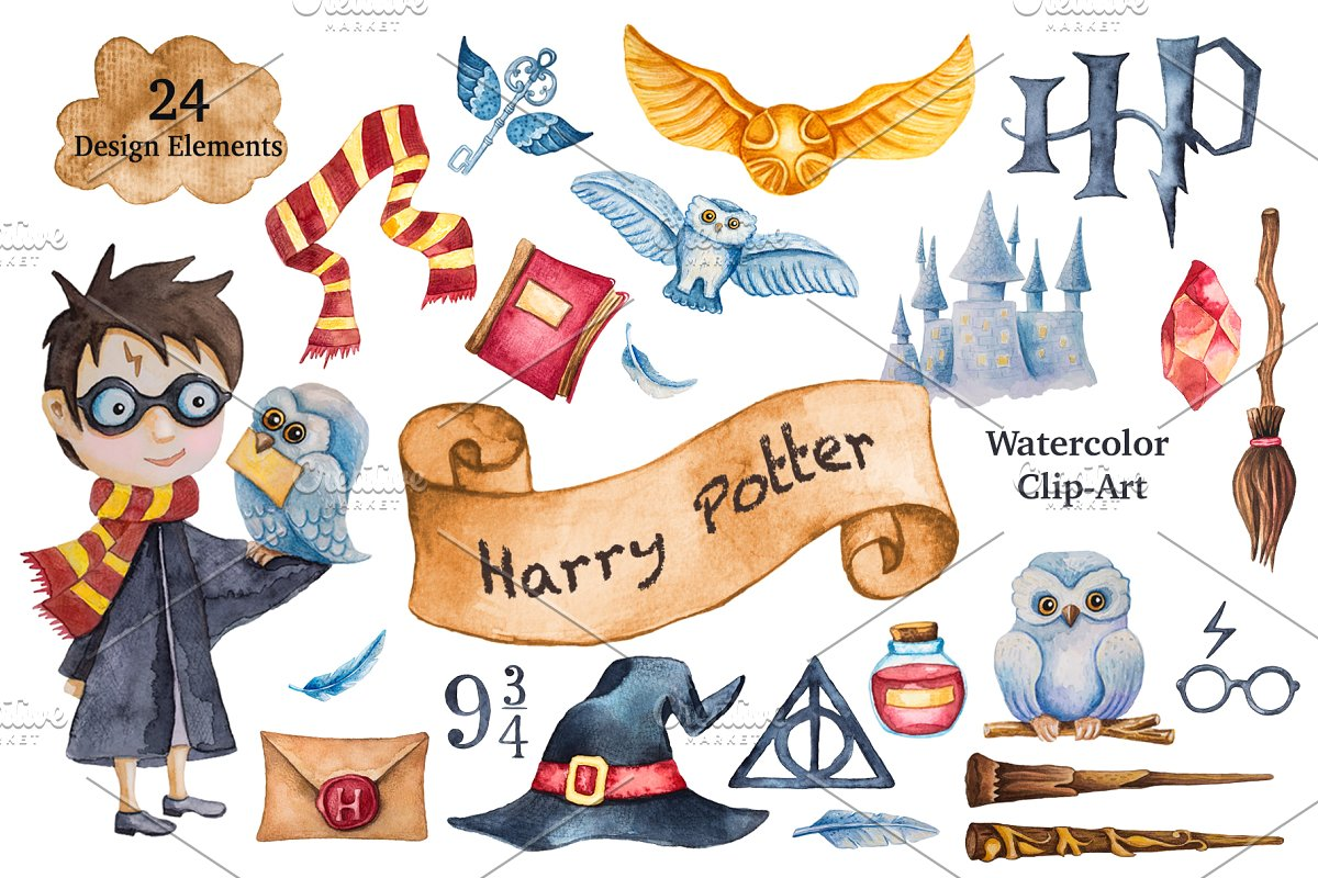 Clipart harry png black and white Harry Potter Watercolor Clip-Art png black and white