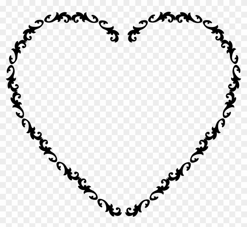 Clipart heart frame picture black and white stock Big Image - Black Heart Frame Clipart, HD Png Download - 2310x2016 ... picture black and white stock