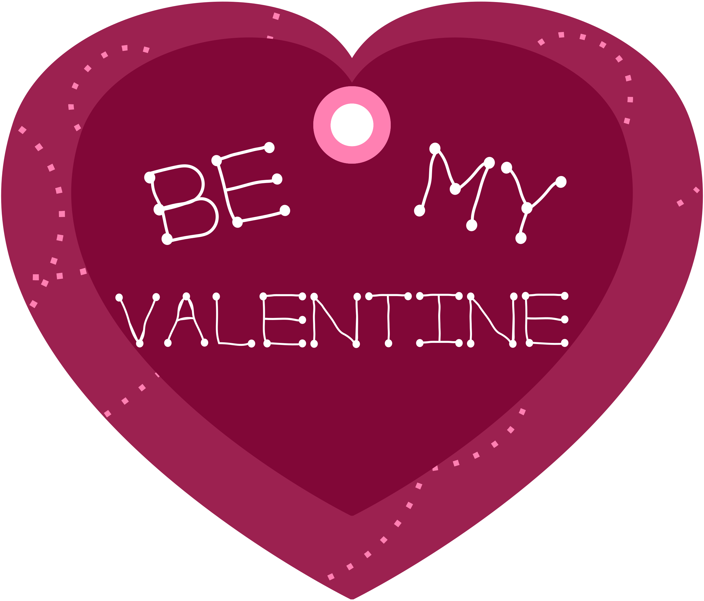 Clipart of a heart shape clip Clipart - Be My Valentine Heart Shaped Gift Tag clip