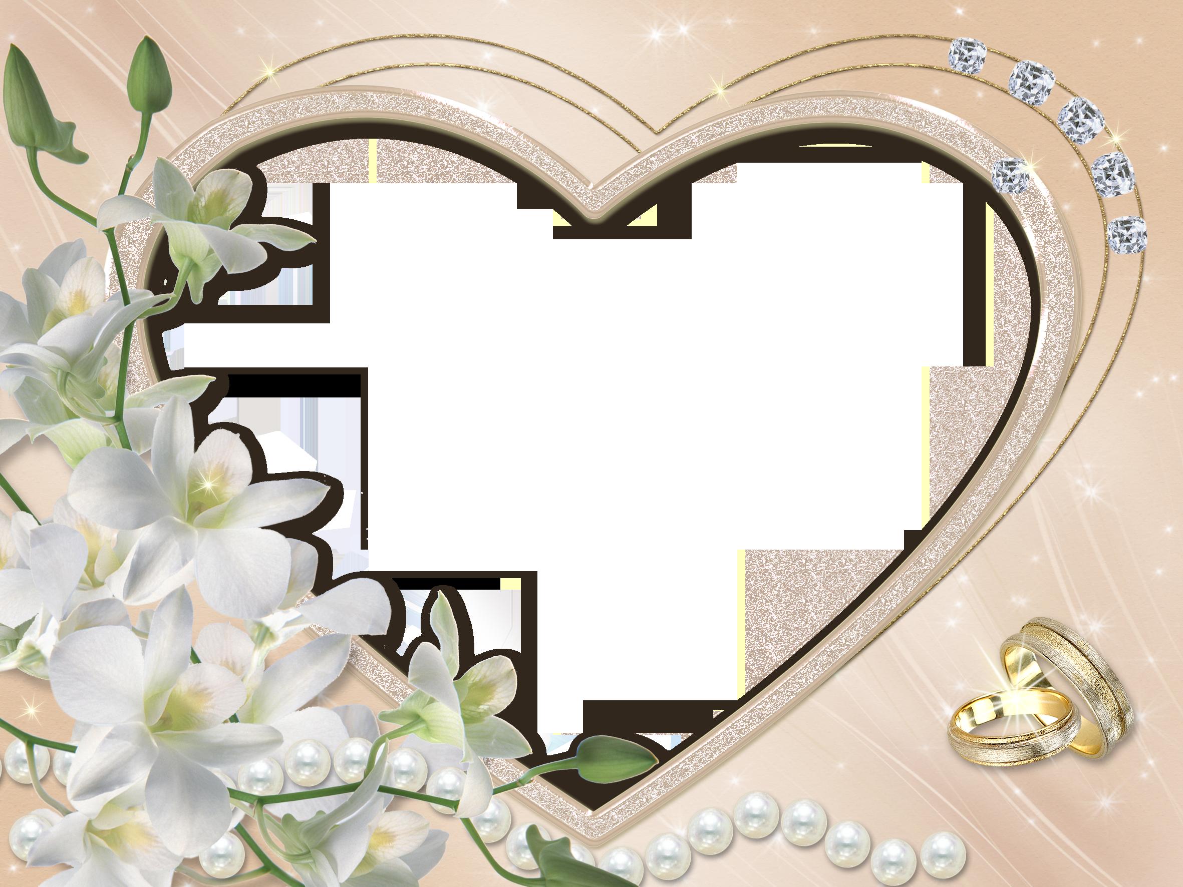 Clipart heart wedding clip art Heart Wedding Flower Transparent Frame | Gallery Yopriceville ... clip art