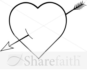Clipart heart with arrow picture black and white library Free clipart heart with arrow - ClipartFest picture black and white library