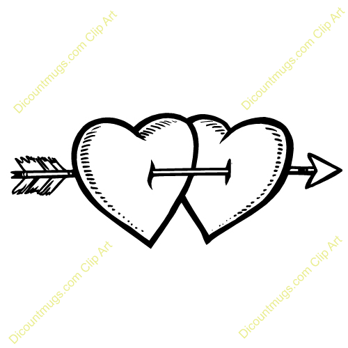 Clipart heart with arrow image freeuse download Two Hearts And An Arrow Clipart - Clipart Kid image freeuse download